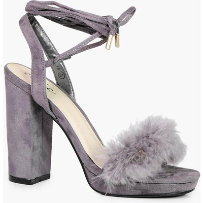 Faux Feather Trim Ankle Wrap Platform Heel - light grey