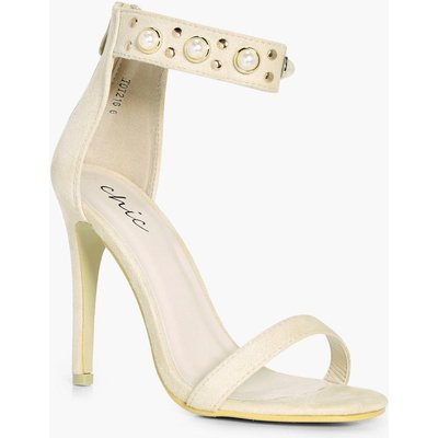 Pearl And Stud Embellished 2 Part Heels - cream