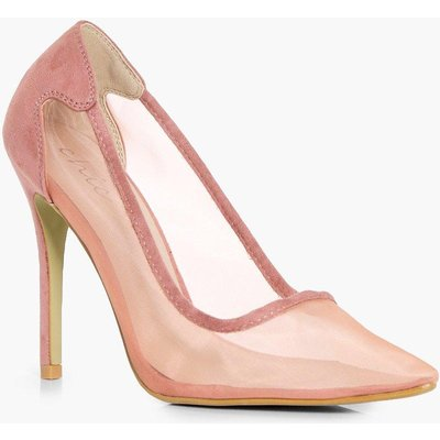 Pointed Toe Mesh Court Heels - blush