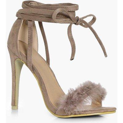Faux Feather Wrap Strap Heels - mocha