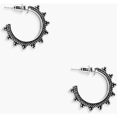 Bent Hoop Earrings - silver