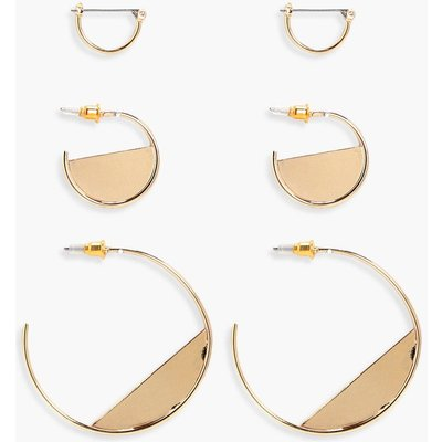 Half Filled Hoop Earring 3 Pack - gold