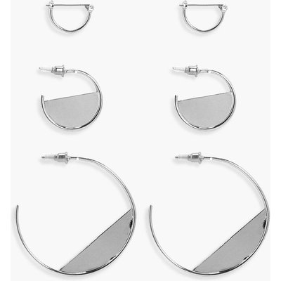 Half Filled Hoop Earring 3 Pack - silver