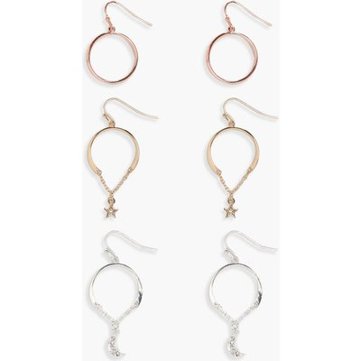 Mixed Metal And Charm Hoop Earring Set - multi