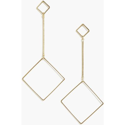 Drop Square Hoop Earrings - gold