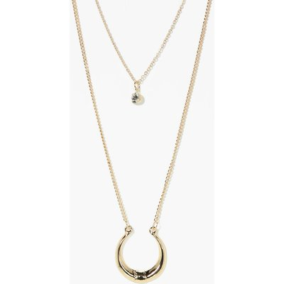 Layered Horseshoe Necklace - gold