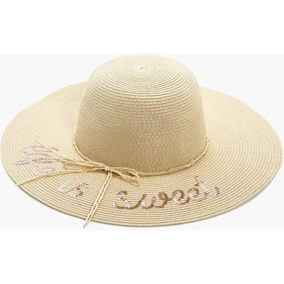 Sequin Slogan Straw Hat - natural