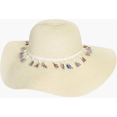 Fringe Trim Floppy Hat - natural