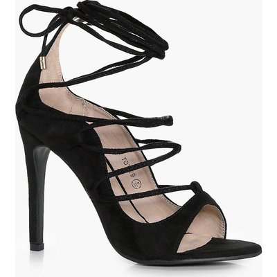 Wrap Strap Detail Gladiator Heel - black