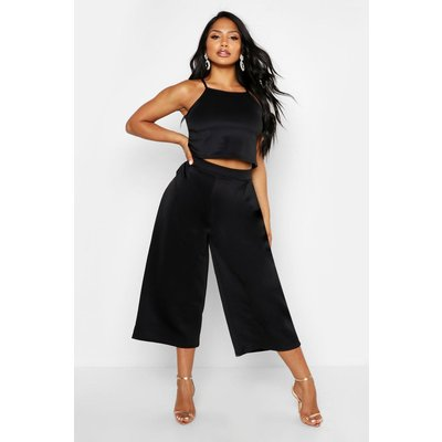 Strappy Crop & Culotte Co-Ord Set - black