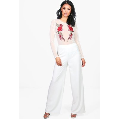 Embroidered Mesh Body & Wide Trouser Co-Ord - cream
