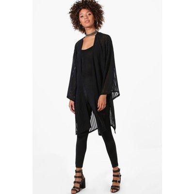 Striped Kimono - black