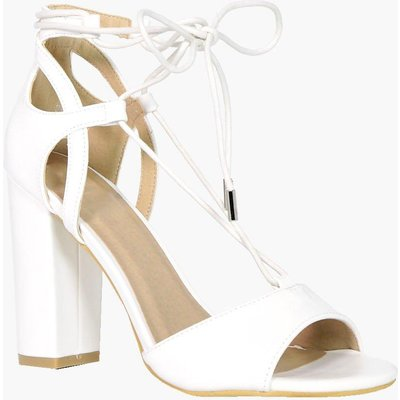 Block Heel With Wrap Strap Ankle - white