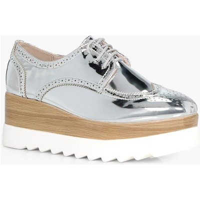 Cleated Lace Up Brogue - silver