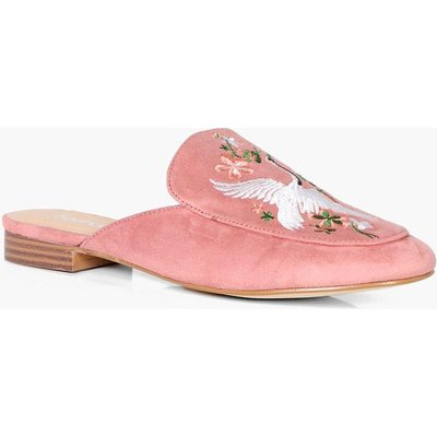 Embroidered Loafer Mule - blush