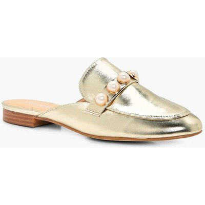 Pearl Trim Metallic Loafer Mule - gold