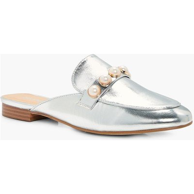 Pearl Trim Metallic Loafer Mule - silver