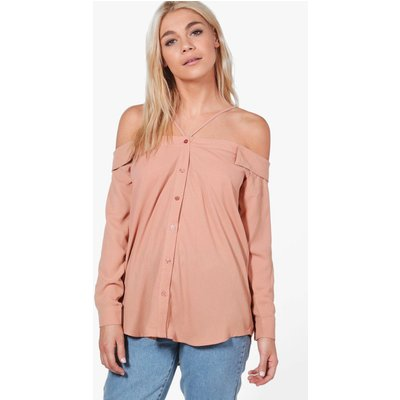 Cold Shoulder Strappy Shirt - rose