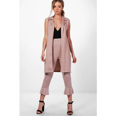 Sleeveless Notch Neck Duster - stone