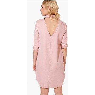 Open Back Choker Shirt Dress - rose
