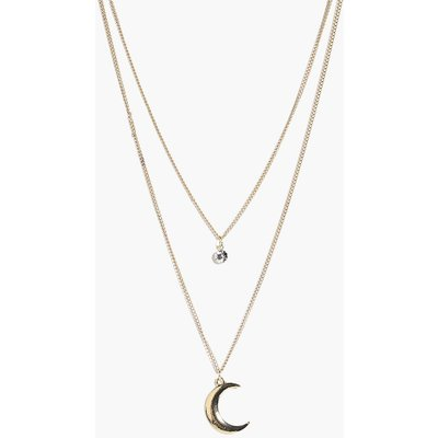 Diamante & Moon Layered Necklace - gold