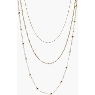 Skinny 3 Layered Necklace - gold