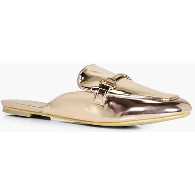 Metallic Trim Slip On Mule Loafer - rose gold
