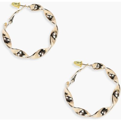 Twisted Chunky Hoop Earrings - gold