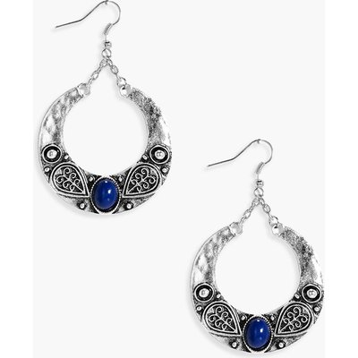 Stone Boho Hoop Earrings - silver