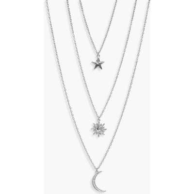 Star Sun Moon Layered Necklace - silver