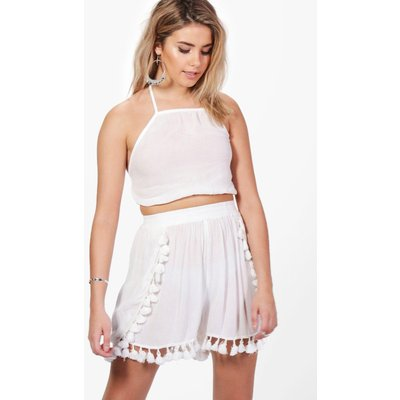 Tassle Trim Crop & Short Co-ord Set - white