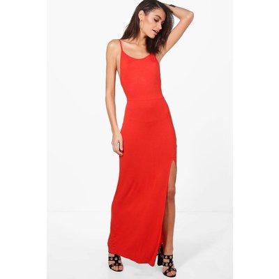 Strappy Front Split Maxi Dress - orange