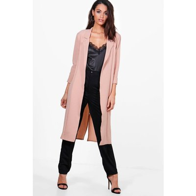 Woven Tailored Lapel Duster - nude