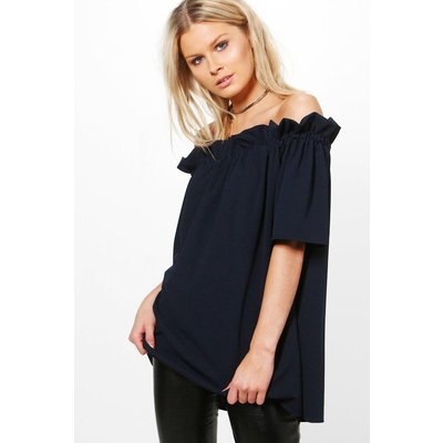 Off The Shoulder Frill Top - navy