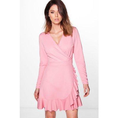 Wrap Ruffle Dress - rose