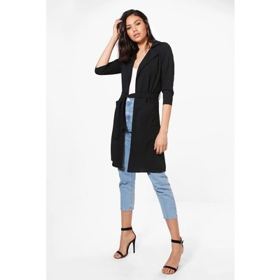 Belted Pocket Trench - black