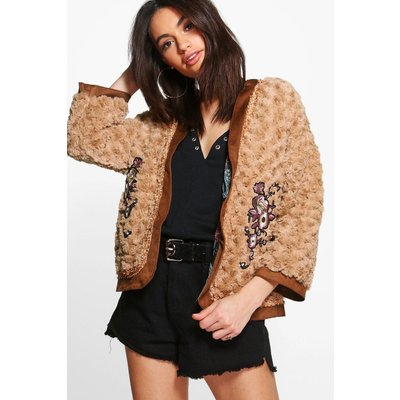 Boutique Embroidered Faux Fur Jacket - tan