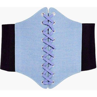 Denim Corset Waist Belt - blue