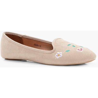 Flower Embroidered Slipper - nude