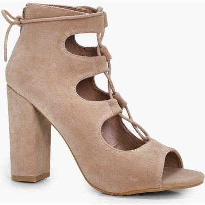 Ghillie Lace Up Block Heels - nude