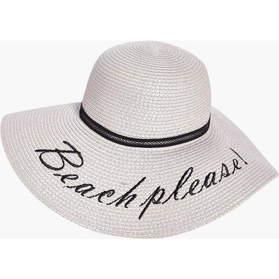 Beach Please Straw Hat - grey