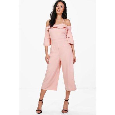 Ruffle Cut Shoulder Culotte Jumpsuit - blush