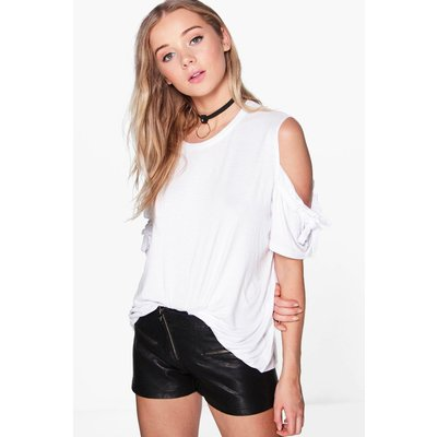 Ruffle Sleeve Cold Shoulder T-Shirt - white