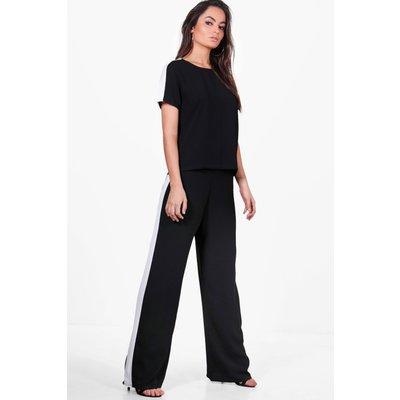 Stripe Side Wide Leg Trouser - black