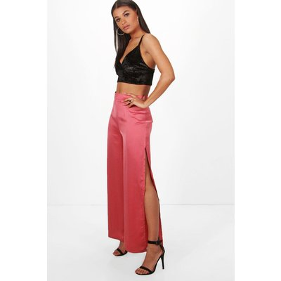 Side Split Wide Leg Luxe Crepe Trousers - rose