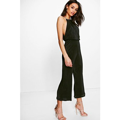Crinkle Drop Arm Culotte Jumpsuit - black