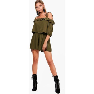 Ruffle Open Shoulder Playsuit - khaki