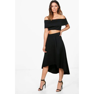 Off Shoulder Crop & Dip Hem Co-ord Set - black