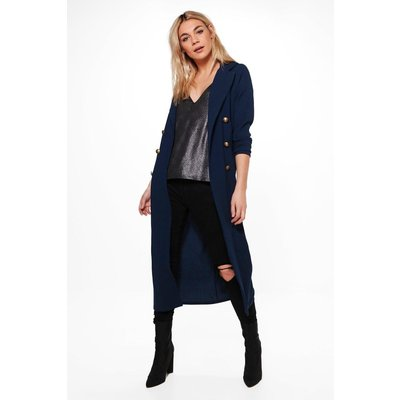 Double Breasted Military Duster - navy