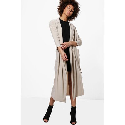 Tie Detail Duster - stone